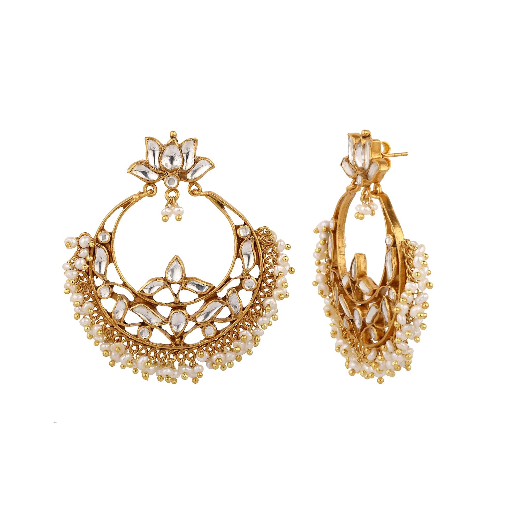 Lotus kundan earring