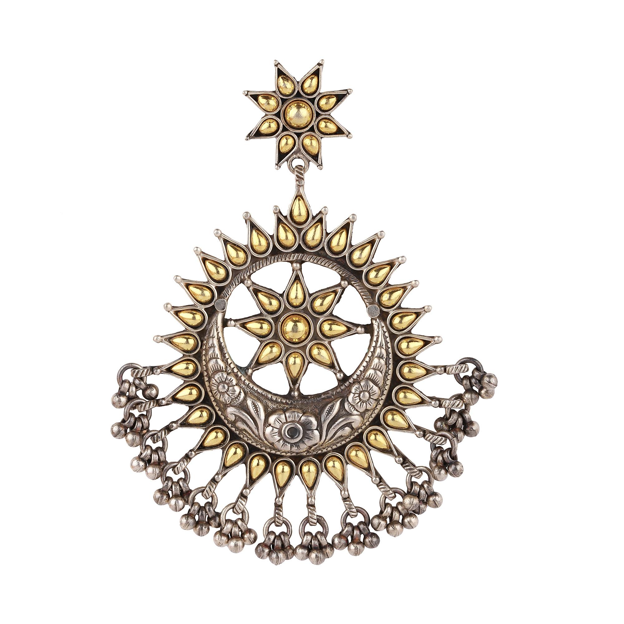 Beautiful Oxidised Round Two tone pendant