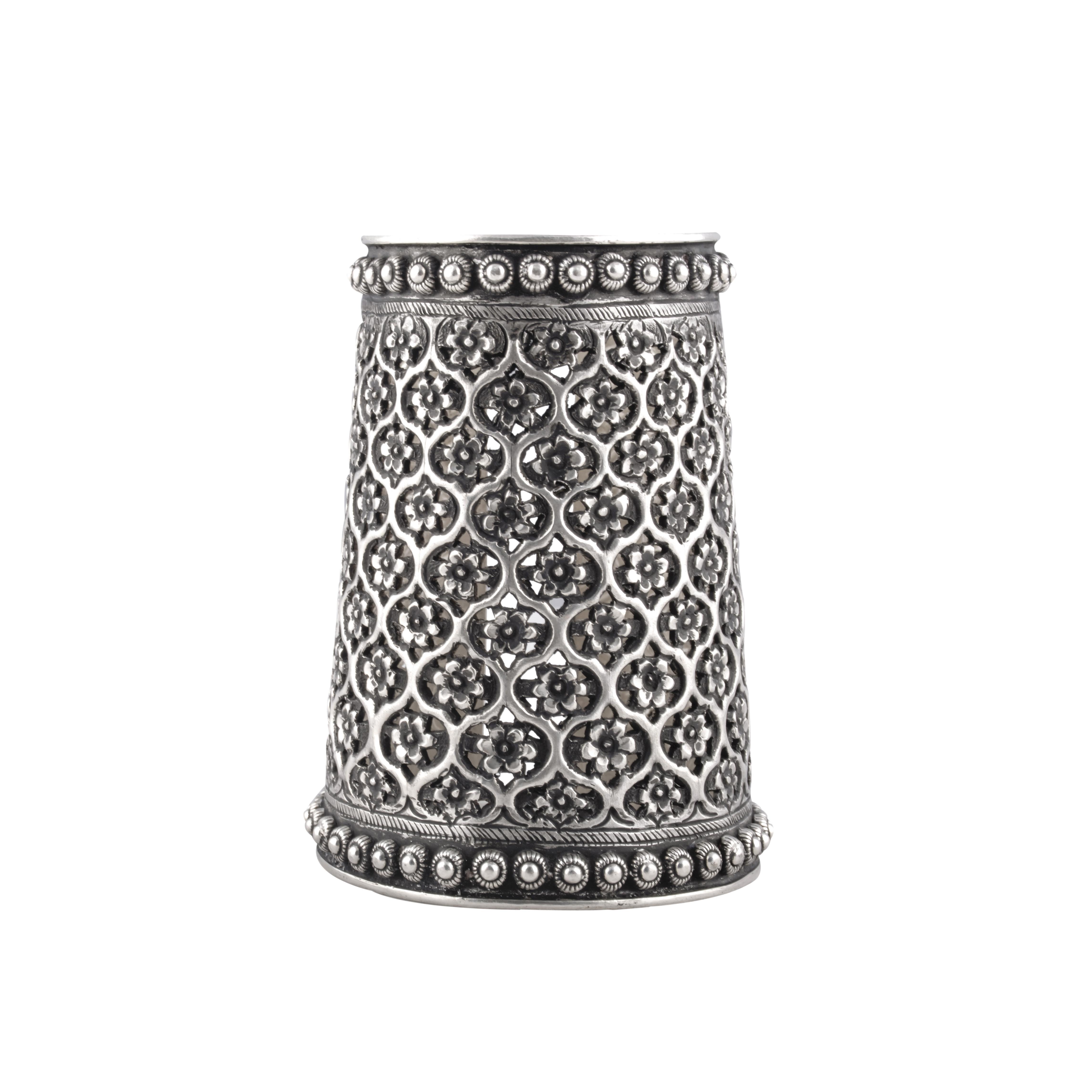 Handcarved silver bangle