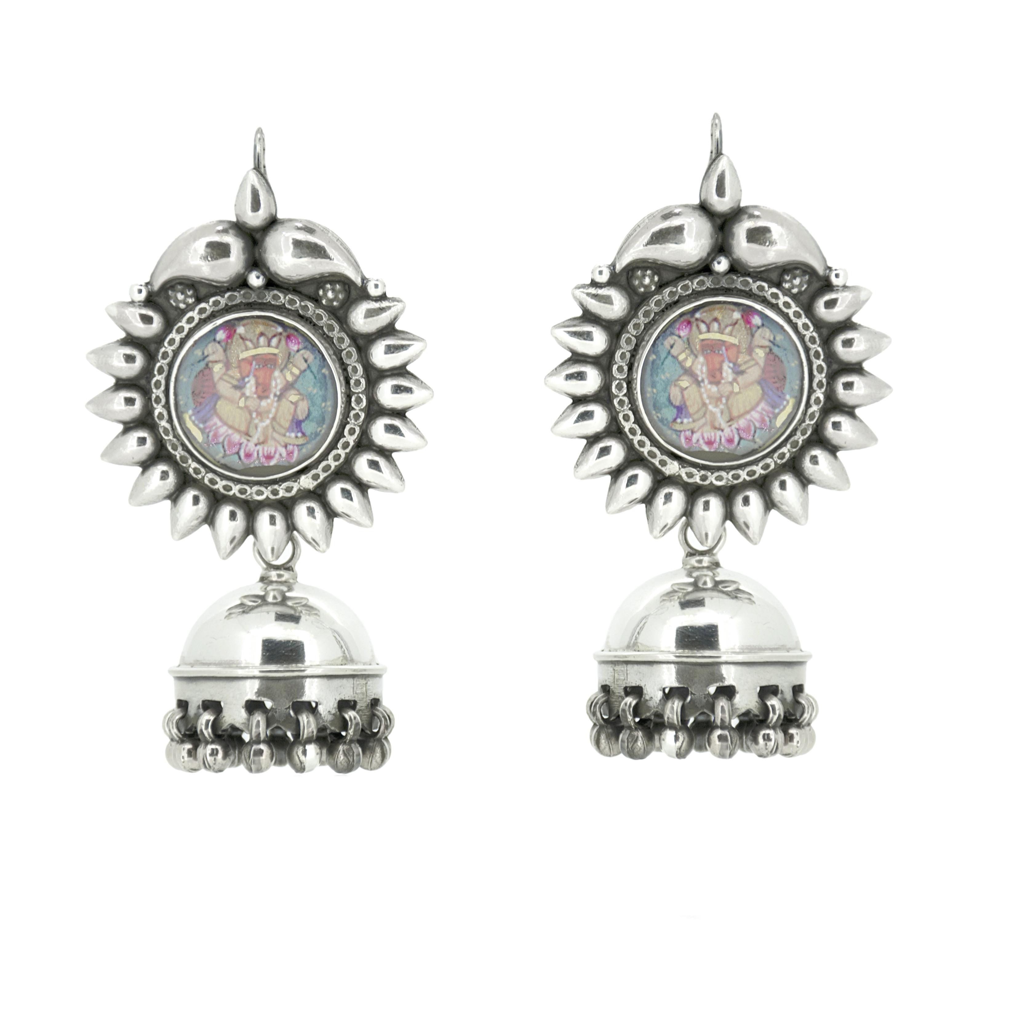 Handmade painting earrings in silver