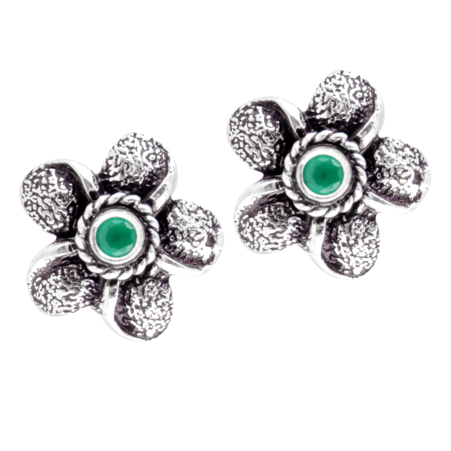 glittering silver oixidised green onyx handmade studs