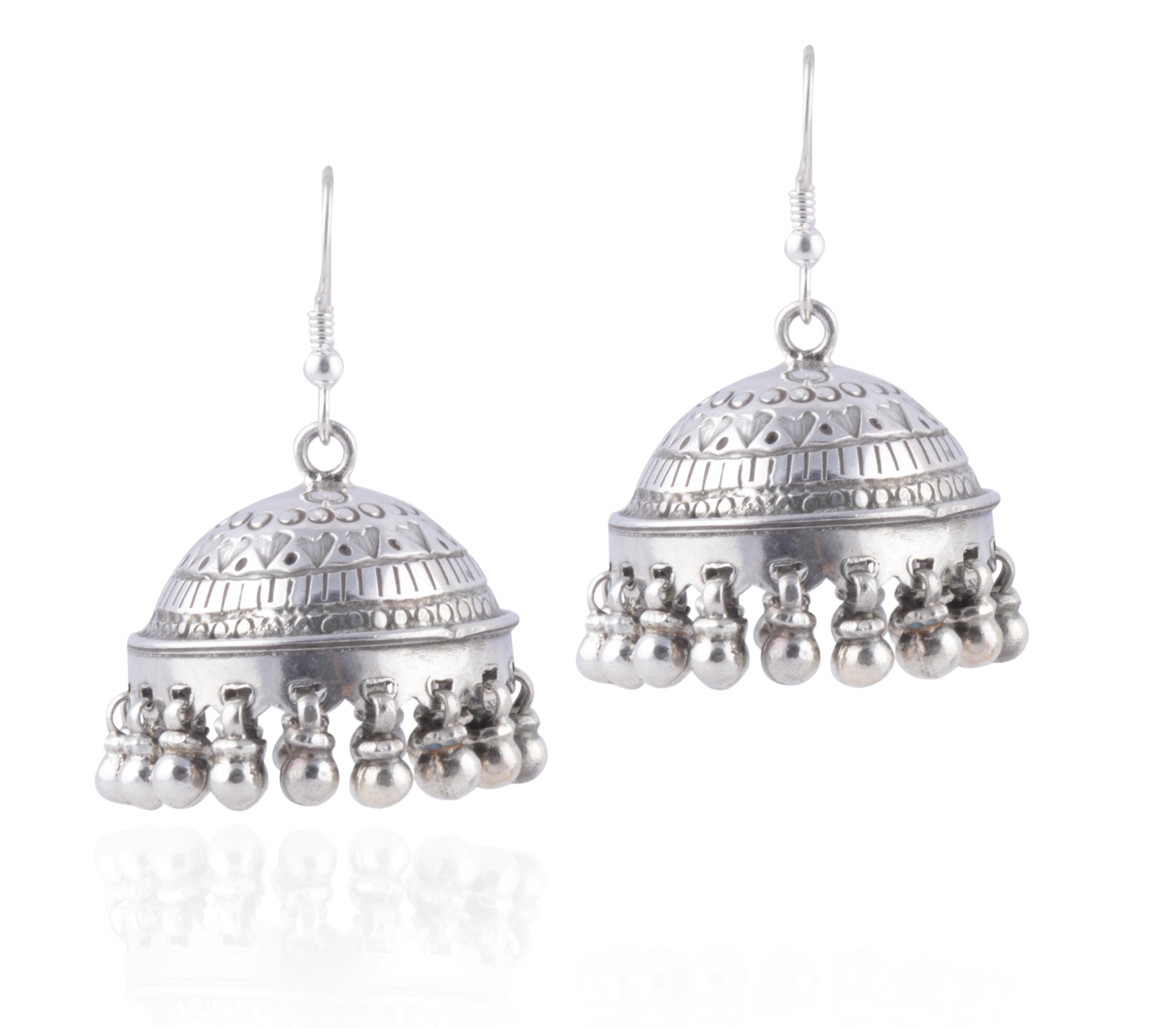 handmade bright silver jhumki