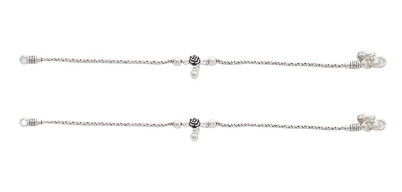 Oxidised Flower Silver Anklet