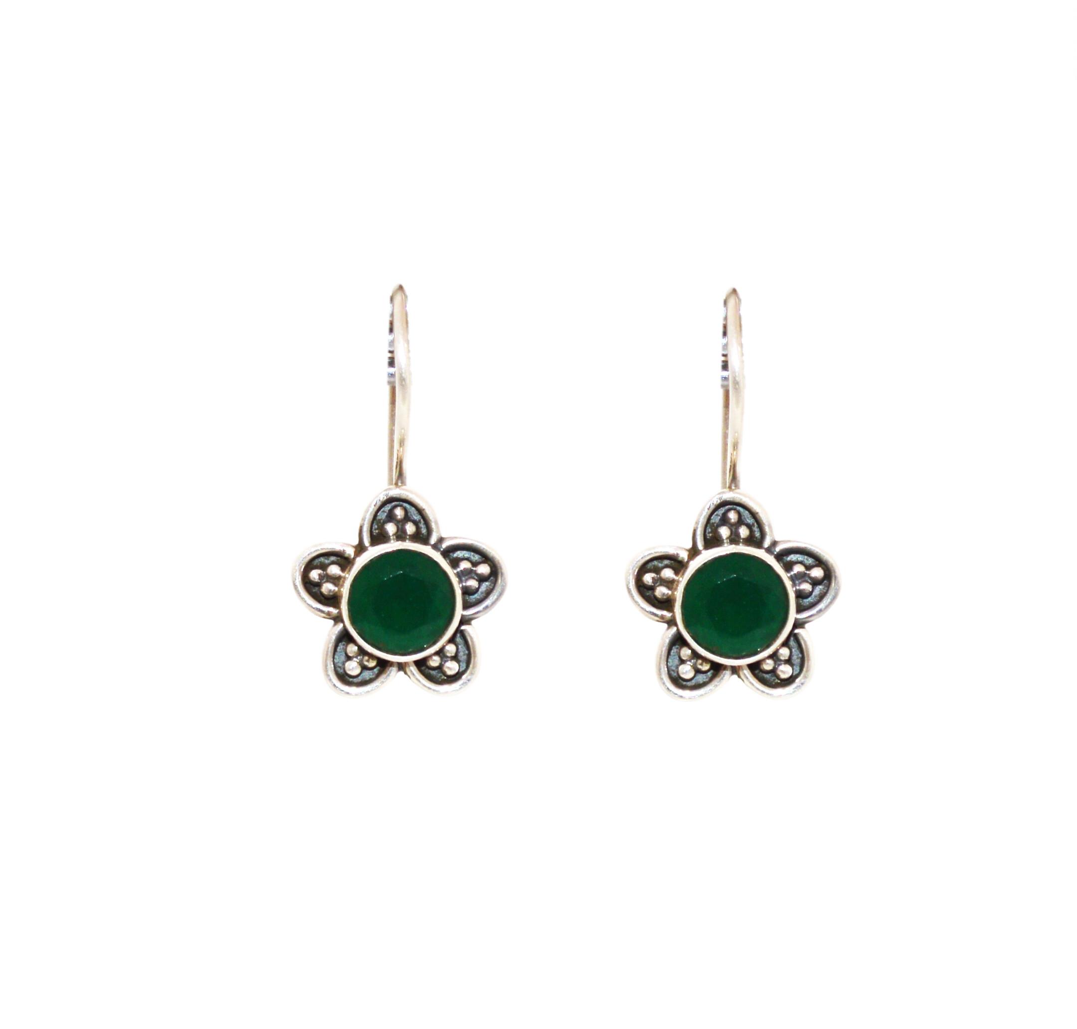 Green Onyx Flower Earring