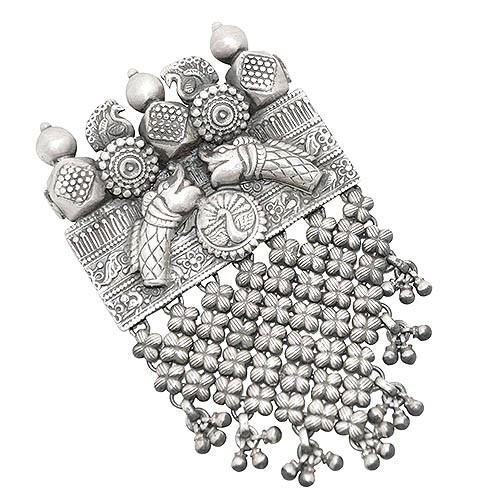 Silver Peacock Jhalar Pendant