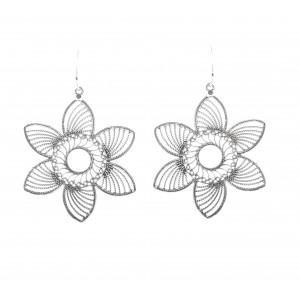 stylish jaliwork star shape silver oxisidsed handmade earring