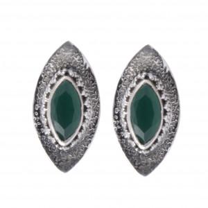 handmade silver green onyx erarings
