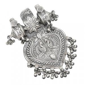Silver Peacock Tevta Pendant