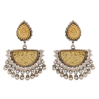 Dual tone dangler earring