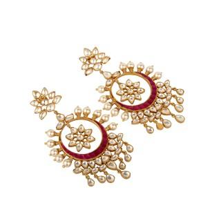 Red Kundan earring