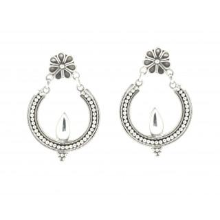 Silver Chandbali Bright Shade Earrings