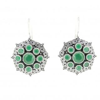handmade green cutstone silver earring