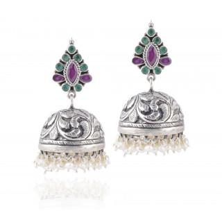 handmade silverhand carved pearl hanging earrings