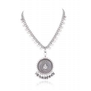 handmade silver ball work ganesh pendent necklace