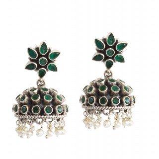 Classic Green Studded Jhumka