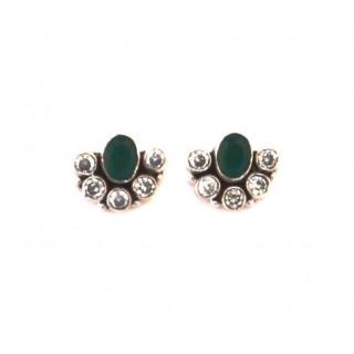 Green Onyx Cutstone earring